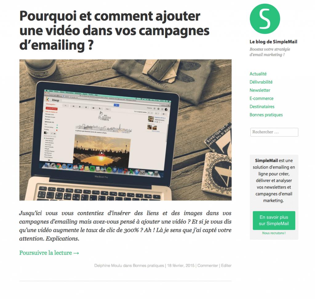 8. Blog de SimpleMail avant
