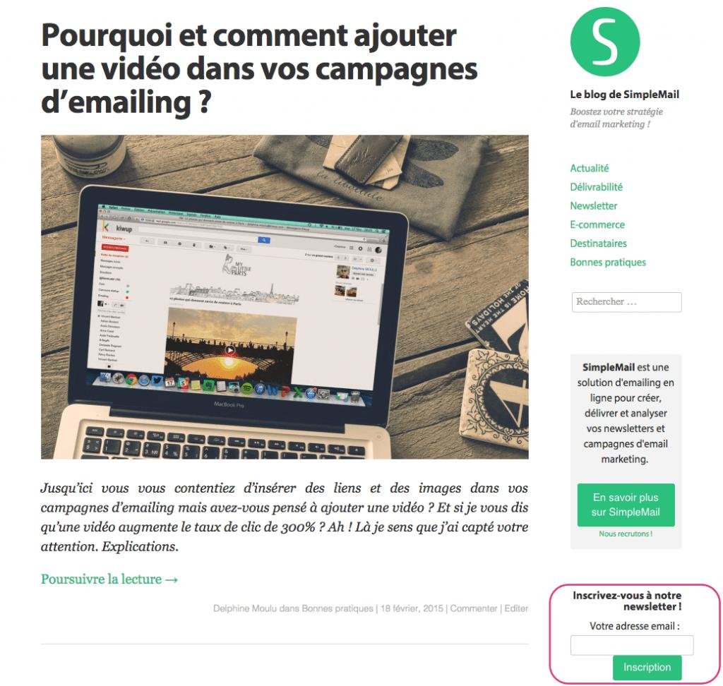 9. Blog de SimpleMail après
