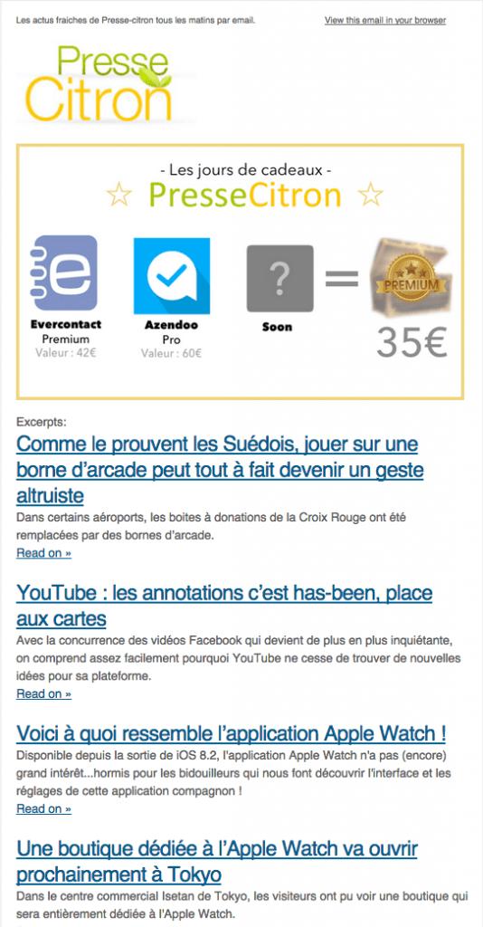 Campagne récurrente - Flux RSS - Presse Citron