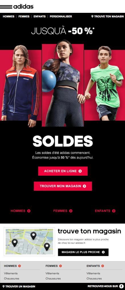 Adidas - soldes été - trouver magasin