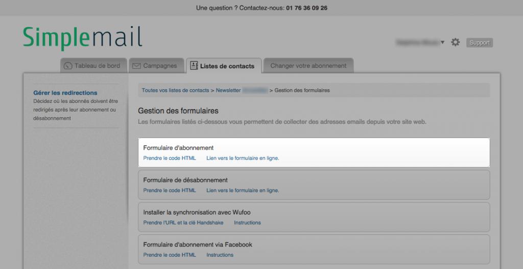 Etape 3 : Prenez le code HTML du formulaire d'abonnement, copiez puis collez-le sur votre site.