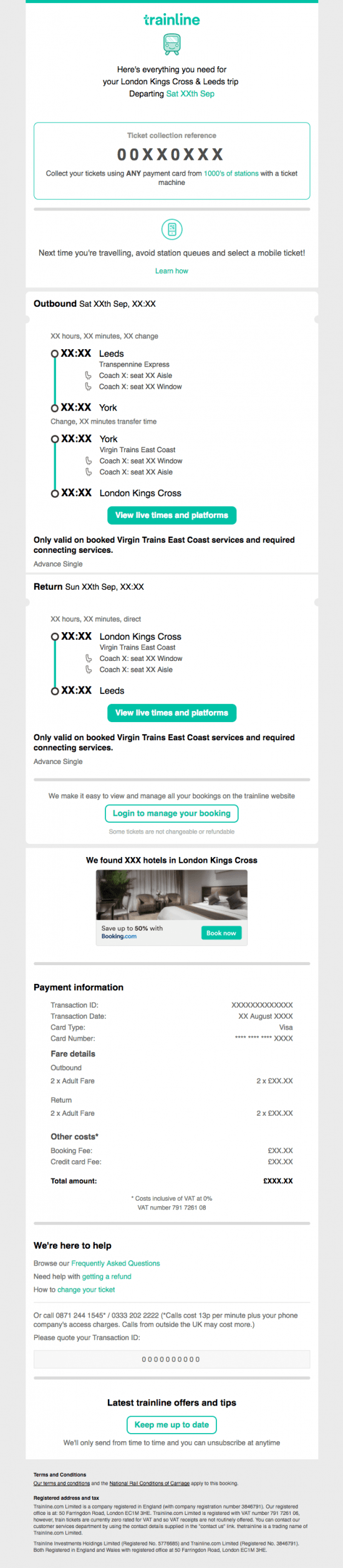 Well designed travel booking confirmation email
