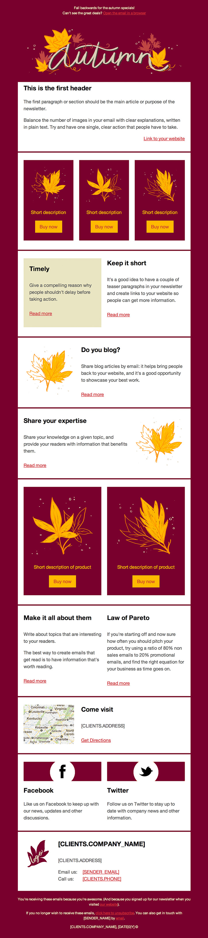 autumn red email eemplate