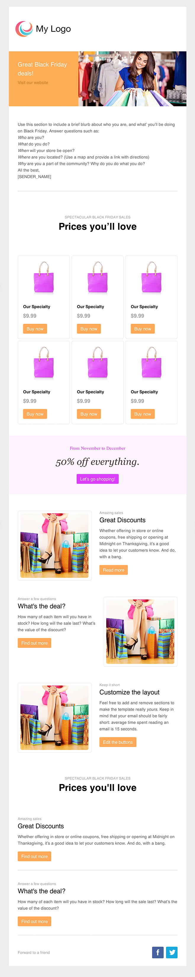 black friday orange email eemplate