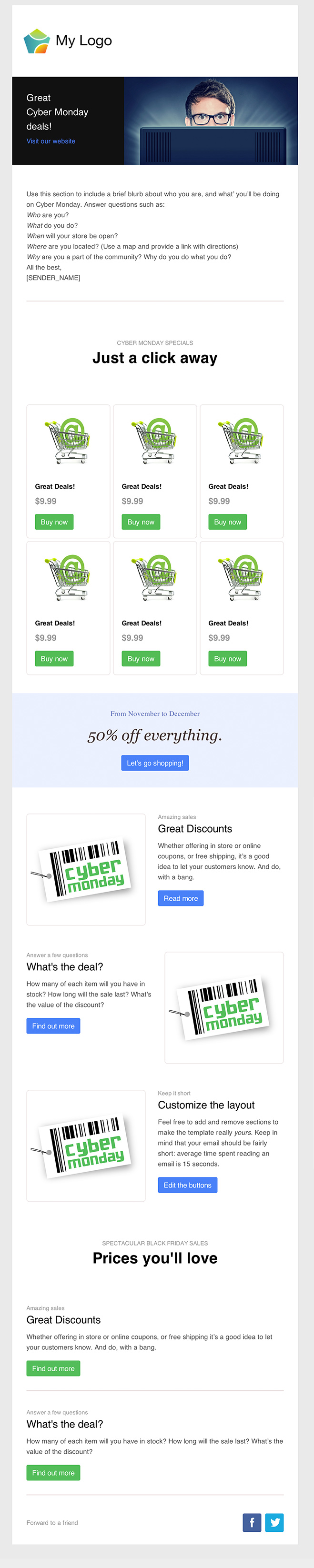 cyber monday green email eemplate