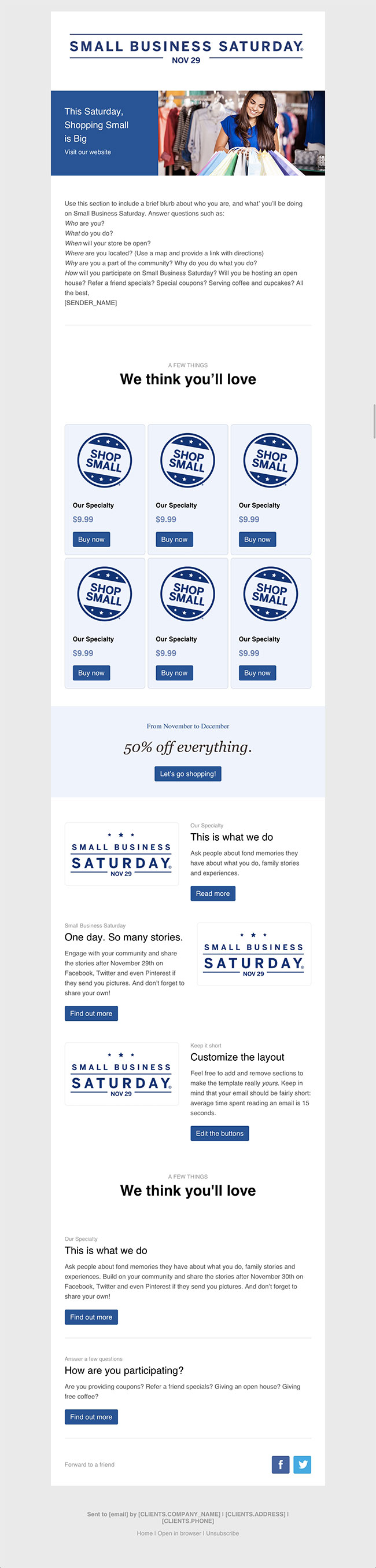 small business saturday blue email eemplate