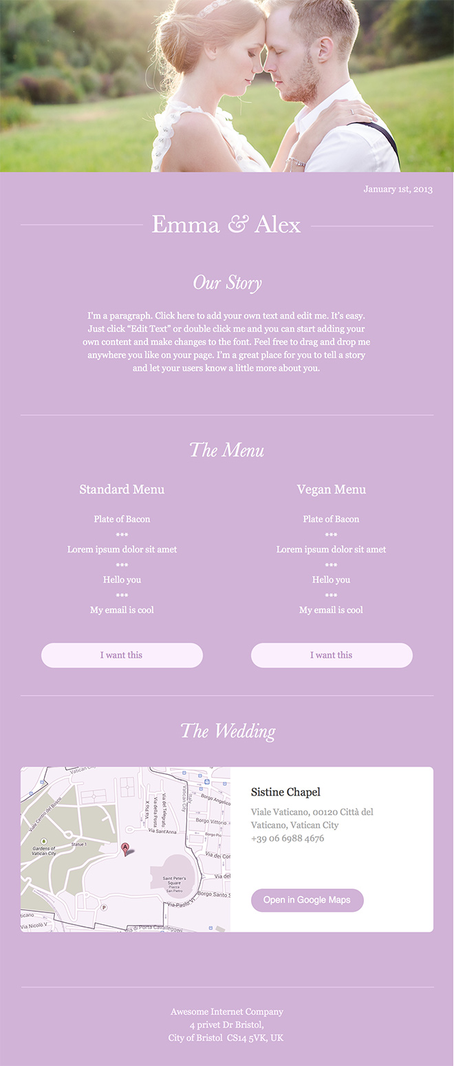 wedding pink email eemplate